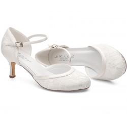 Sapato Noiva renda e salto medio