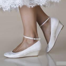 Sapatos noiva salto cunha baixa