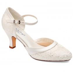Sapato noiva renda salto baixo