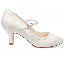 Sapatos noiva vintage salto baixo