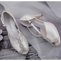 sapatos noiva ponta aberta e plataforma