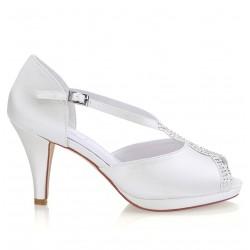 Sapatos noiva brancos salto medio