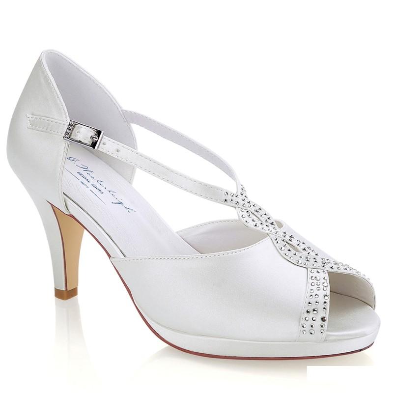 Sapatos noiva salto medio e plataforma