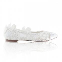 Sapatos noiva rasos de renda