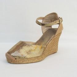 Sandalia Alpargata noiva dourada