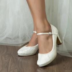 Sapatos de noiva clássico salto médio