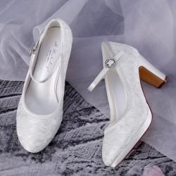 Sapatos de noiva confortável tacão grosso